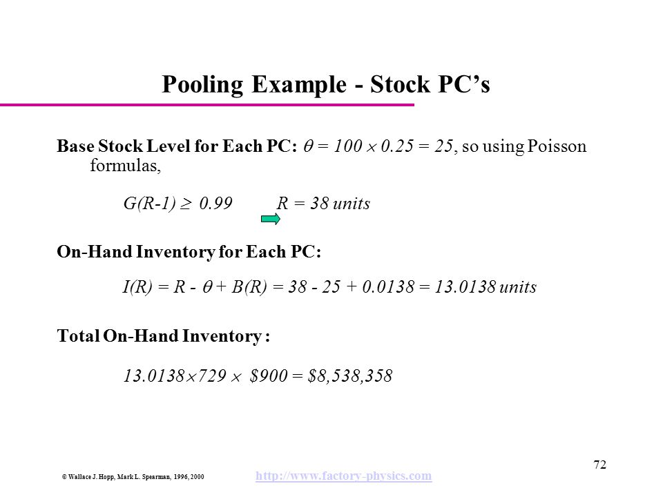 Pooling Example - Stock PC's
