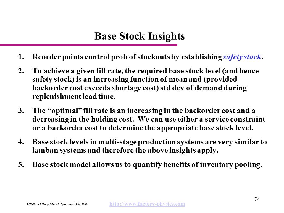 Base Stock Insights Reorder points control prob of stockouts by establishing safety stock.