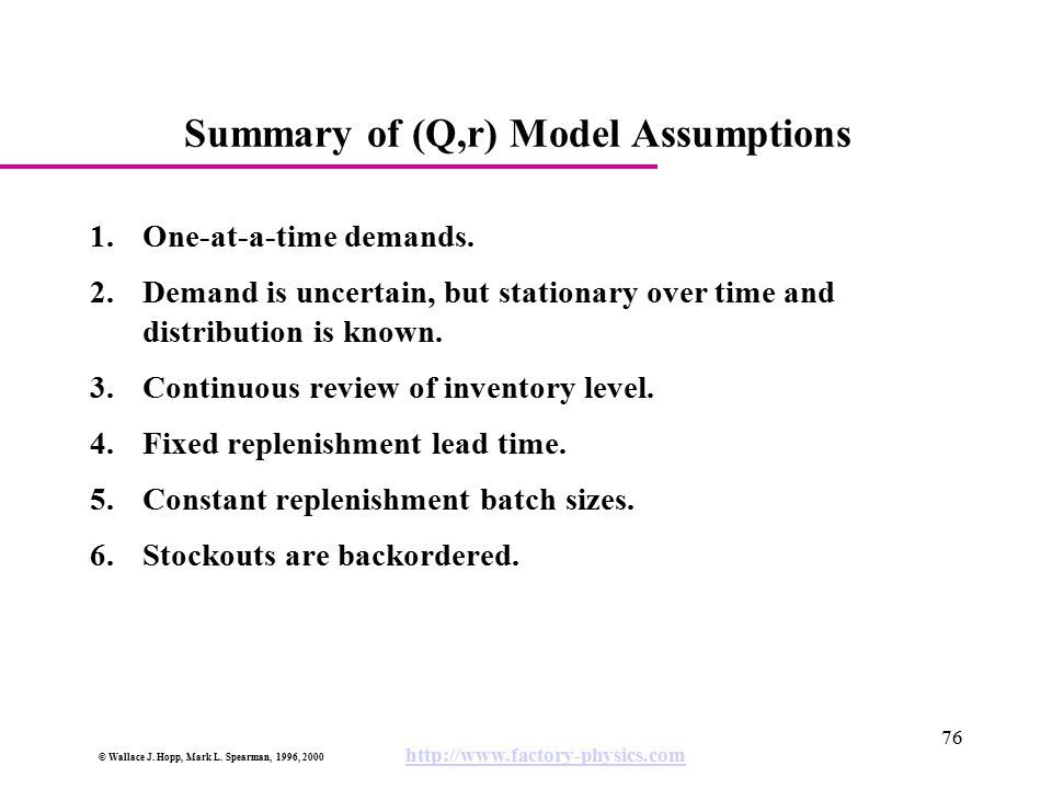 Summary of (Q,r) Model Assumptions