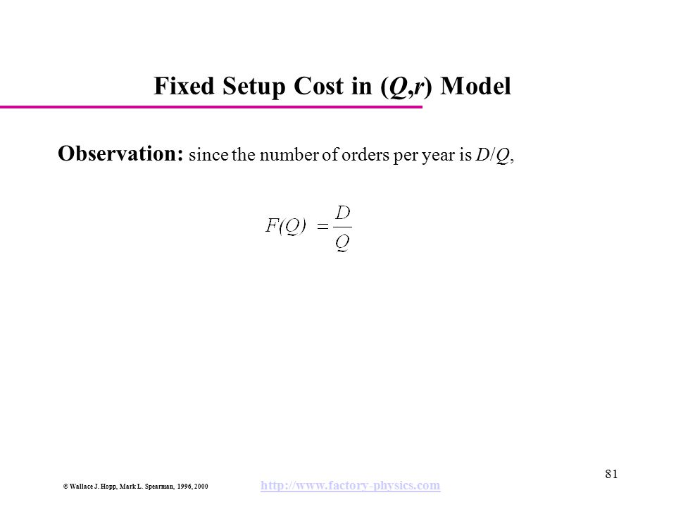 Fixed Setup Cost in (Q,r) Model