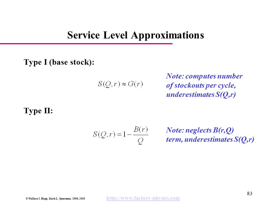 Service Level Approximations