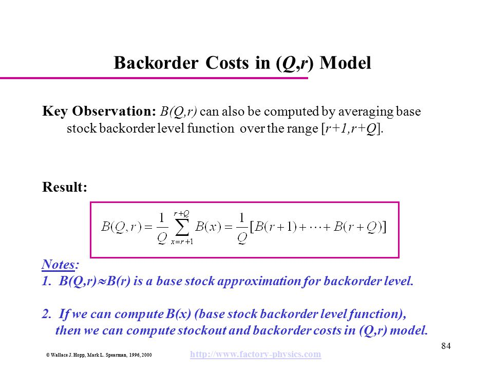 Backorder Costs in (Q,r) Model
