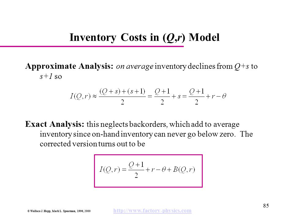 Inventory Costs in (Q,r) Model