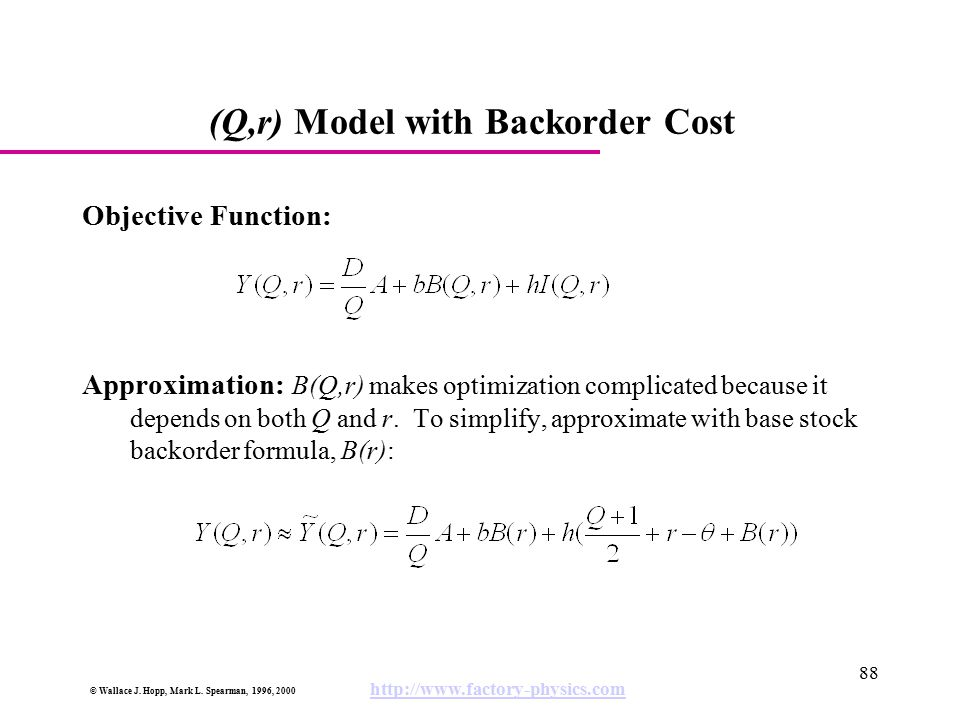 (Q,r) Model with Backorder Cost