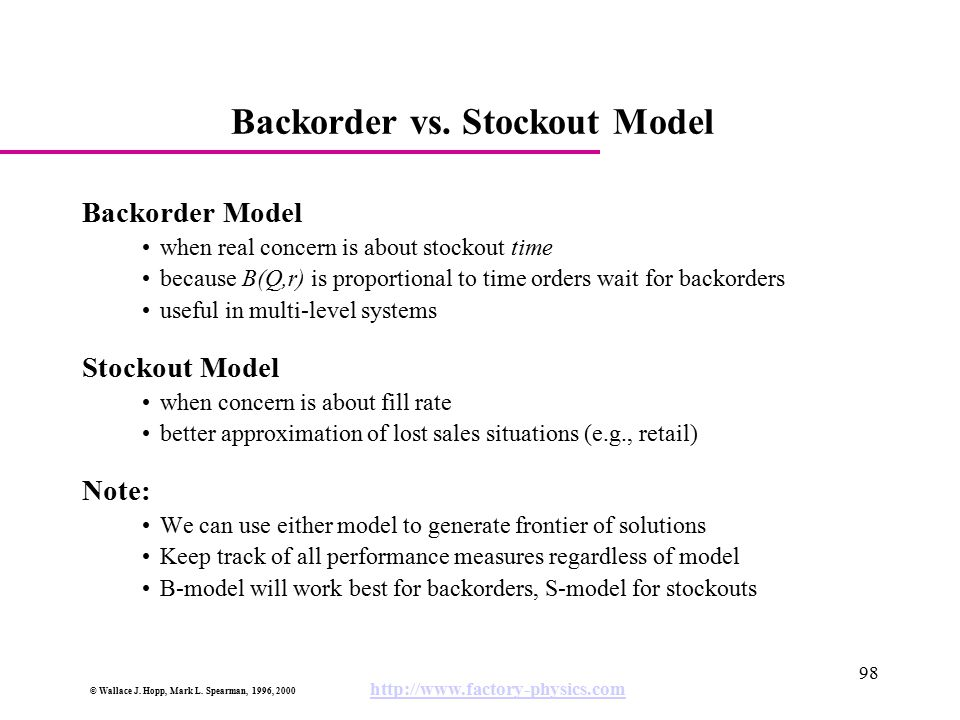 Backorder vs. Stockout Model