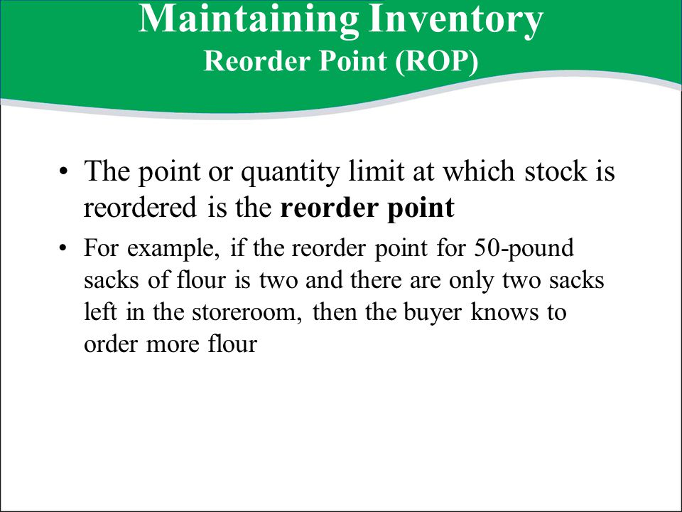 Maintaining Inventory Reorder Point (ROP)