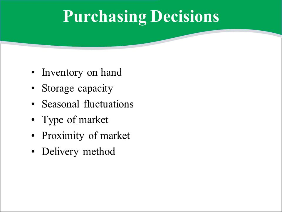 Purchasing Decisions Inventory on hand Storage capacity
