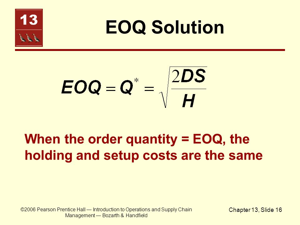 EOQ Solution When the order quantity = EOQ, the holding and setup costs are the same.