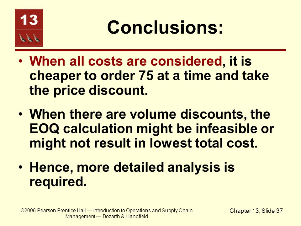 Conclusions: When all costs are considered, it is cheaper to order 75 at a time and take the price discount.