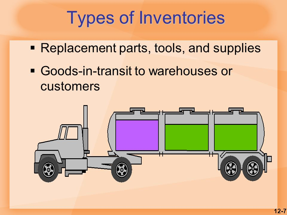 Types of Inventories Replacement parts, tools, and supplies