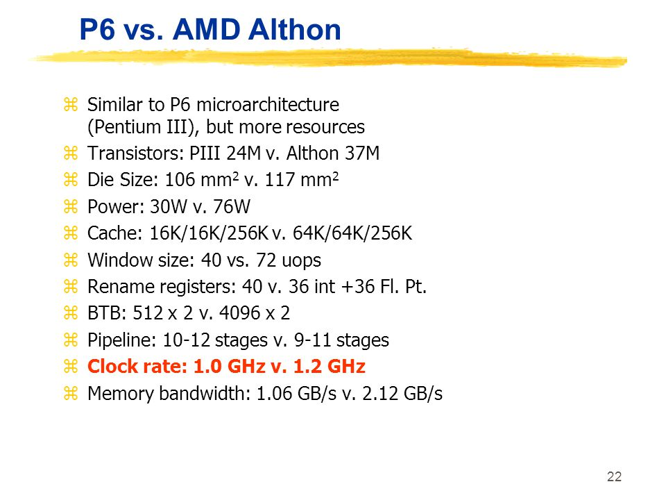 P6 vs. AMD Althon Similar to P6 microarchitecture (Pentium III), but more resources. Transistors: PIII 24M v. Althon 37M.
