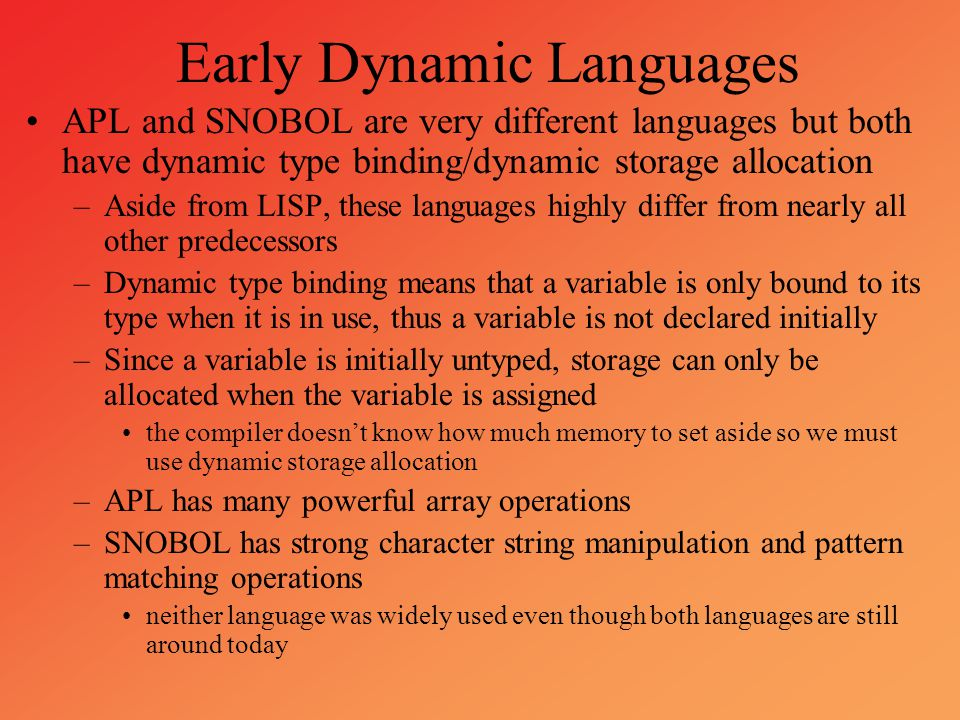Early Dynamic Languages