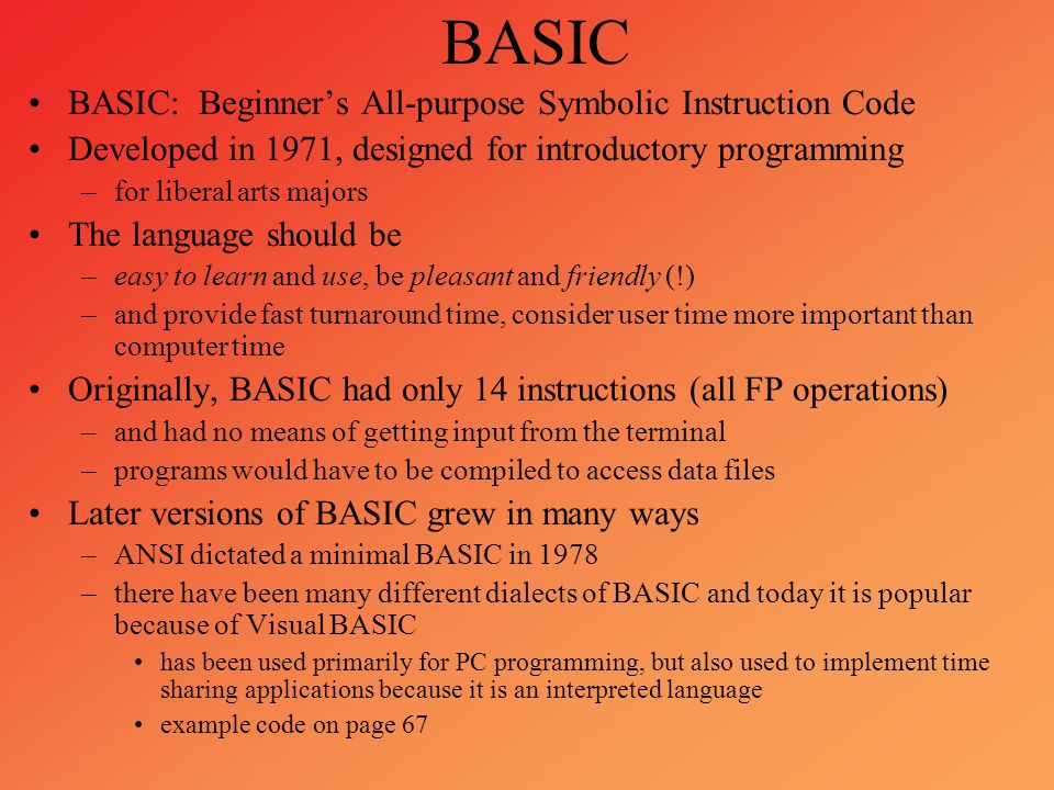 BASIC BASIC: Beginner's All-purpose Symbolic Instruction Code