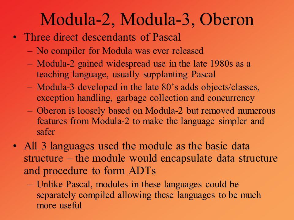 Modula-2, Modula-3, Oberon