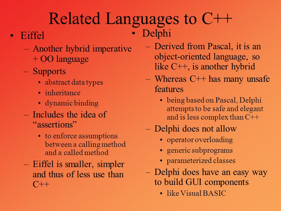 Related Languages to C++