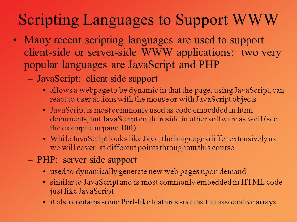 Scripting Languages to Support WWW