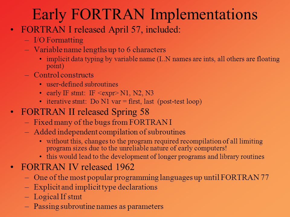 Early FORTRAN Implementations