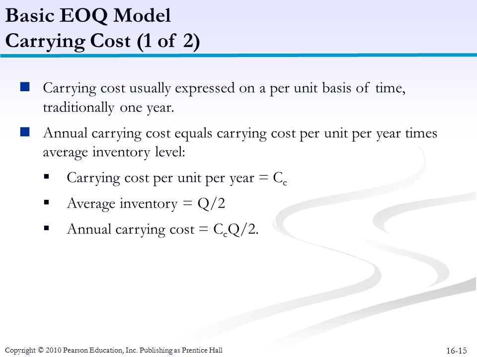 Basic EOQ Model Carrying Cost (1 of 2)