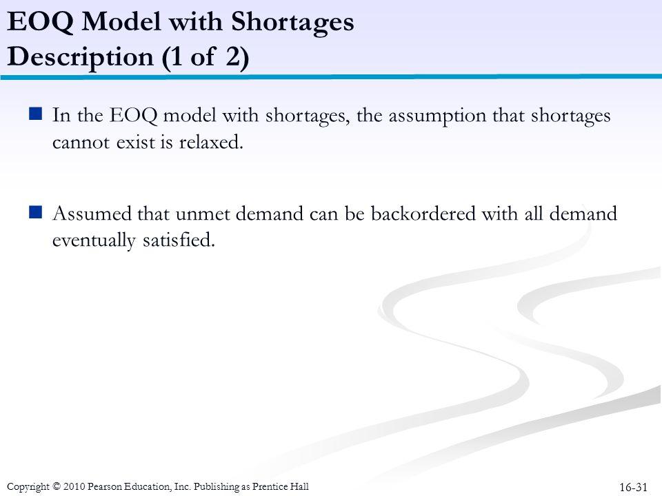 EOQ Model with Shortages Description (1 of 2)