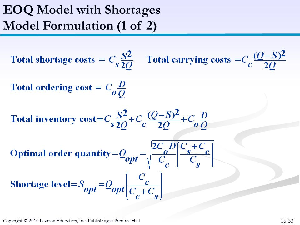 EOQ Model with Shortages Model Formulation (1 of 2)
