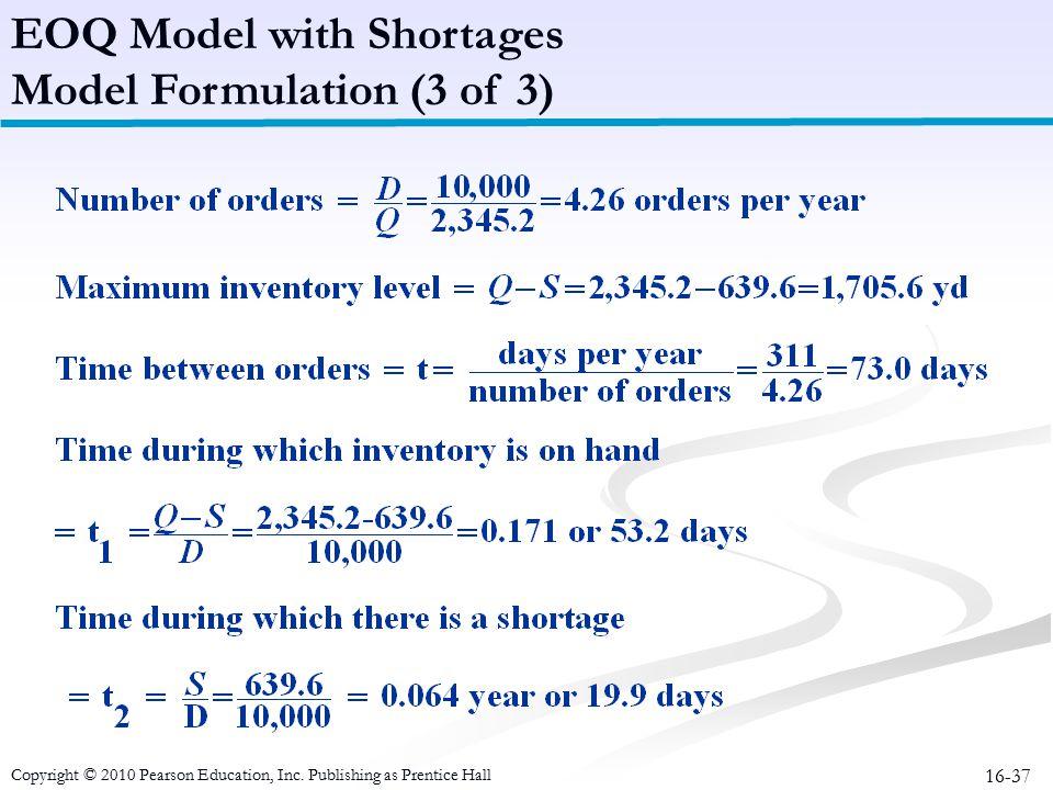 EOQ Model with Shortages Model Formulation (3 of 3)