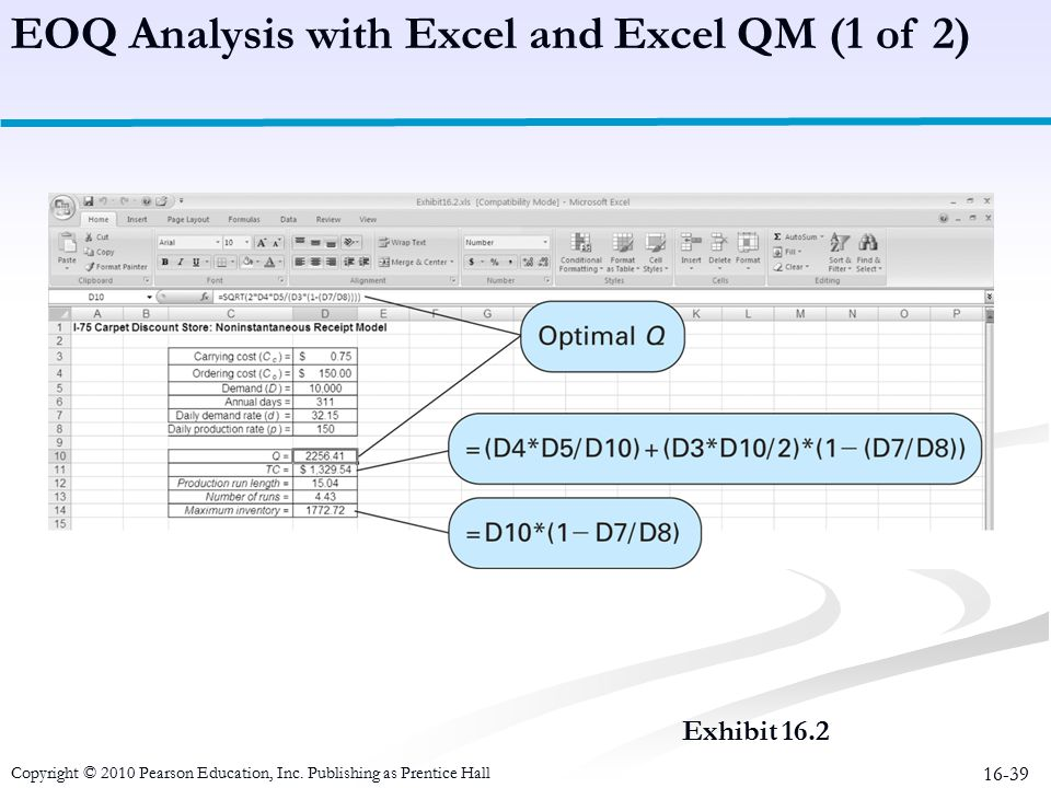 EOQ Analysis with Excel and Excel QM (1 of 2)
