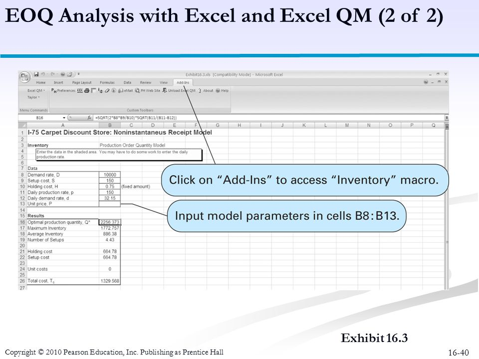 EOQ Analysis with Excel and Excel QM (2 of 2)
