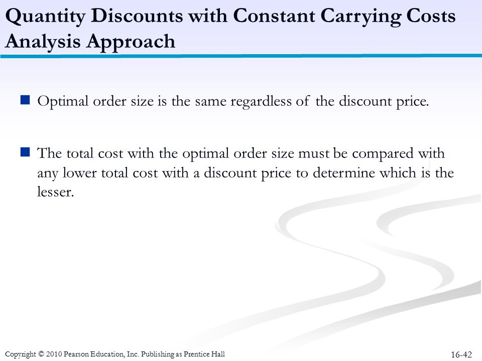 Quantity Discounts with Constant Carrying Costs Analysis Approach