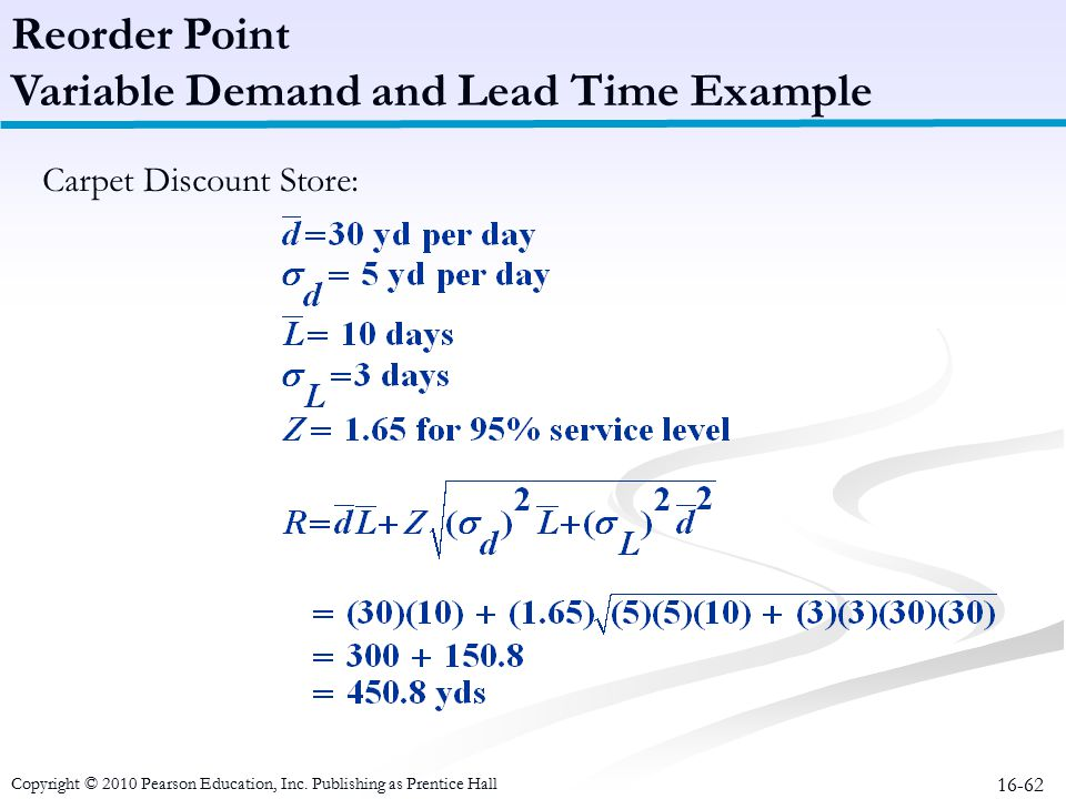 Variable Demand and Lead Time Example