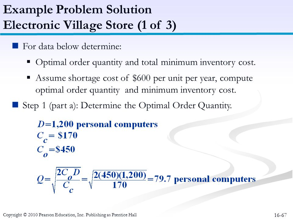 Example Problem Solution Electronic Village Store (1 of 3)