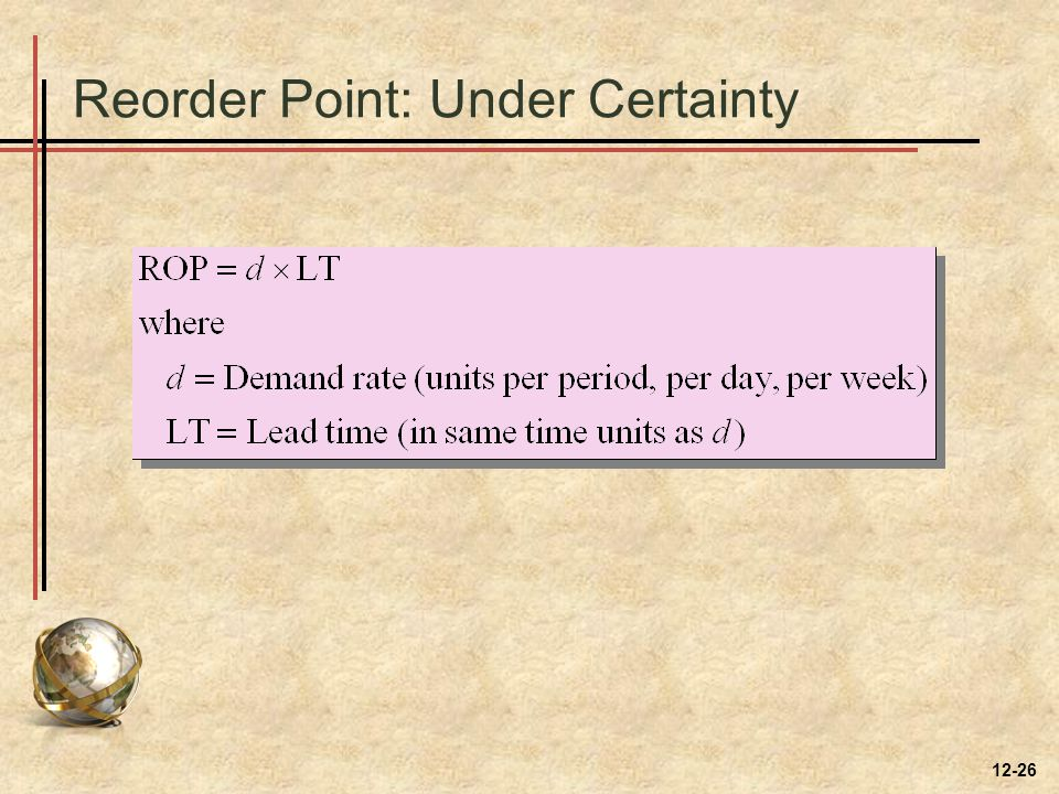 Reorder Point: Under Certainty