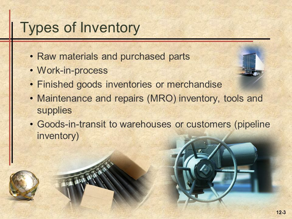 Types of Inventory Raw materials and purchased parts Work-in-process