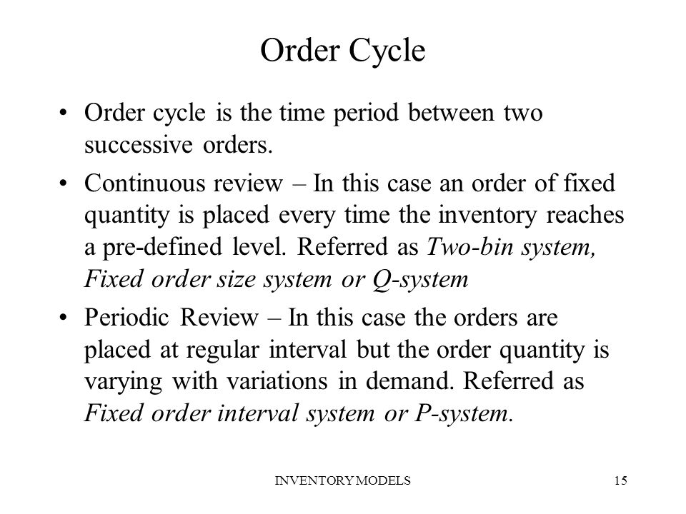 Order Cycle Order cycle is the time period between two successive orders.