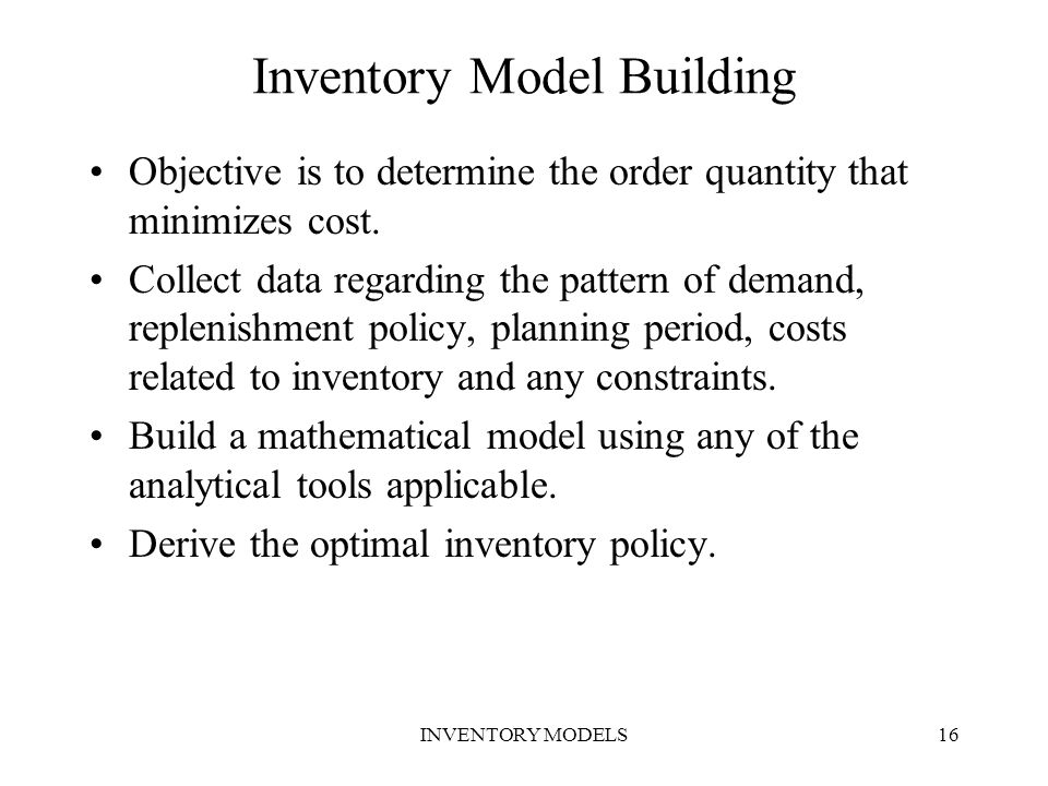 Inventory Model Building