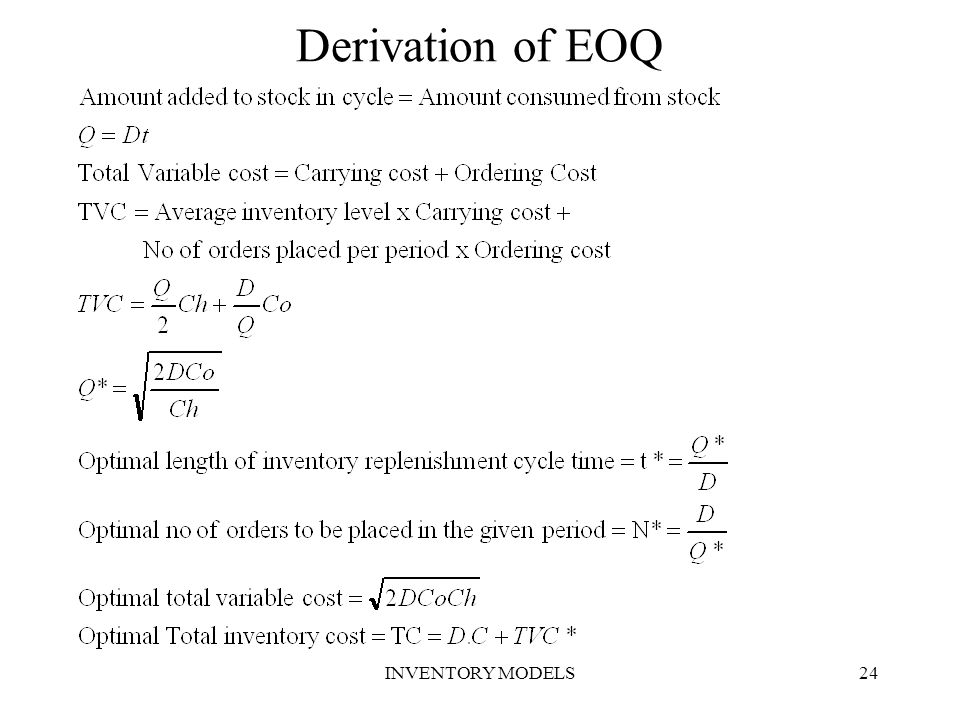 Derivation of EOQ INVENTORY MODELS