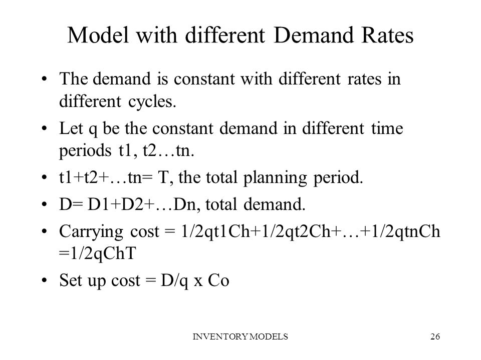 Model with different Demand Rates