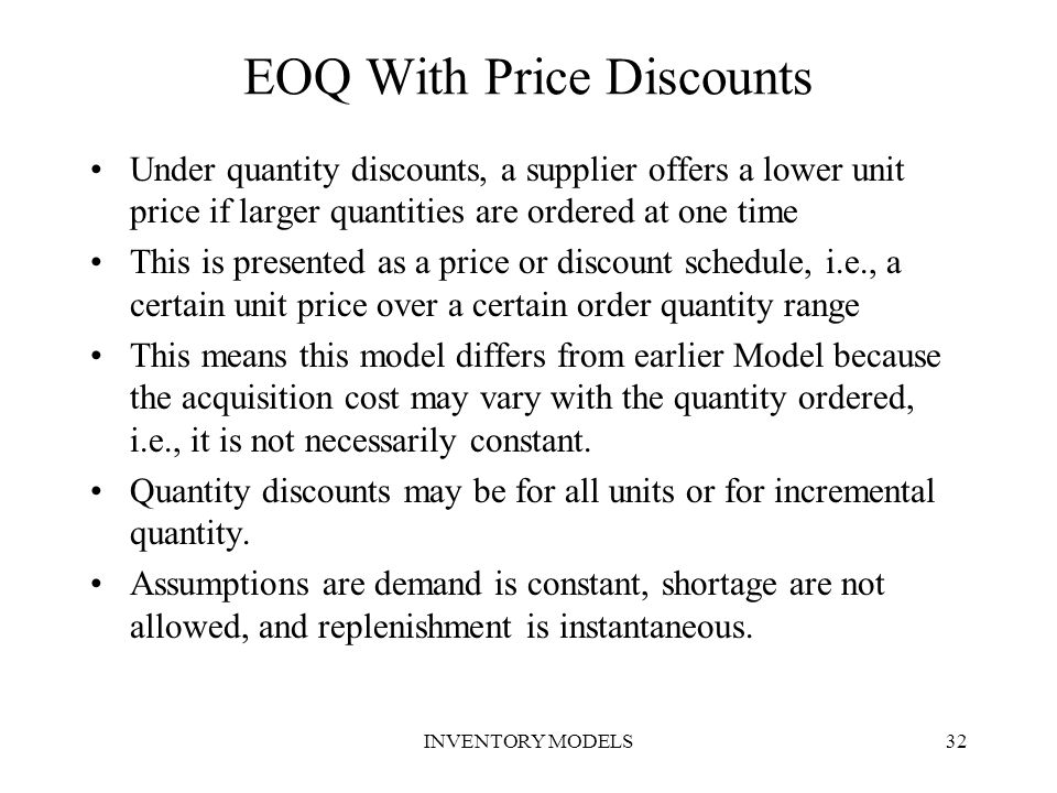 EOQ With Price Discounts