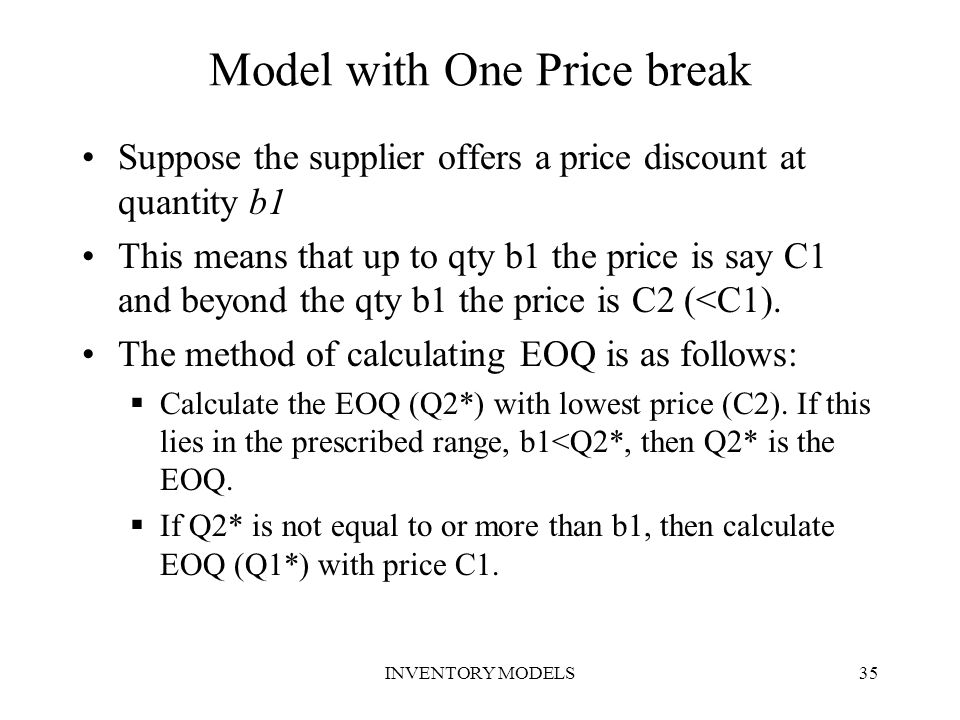 Model with One Price break
