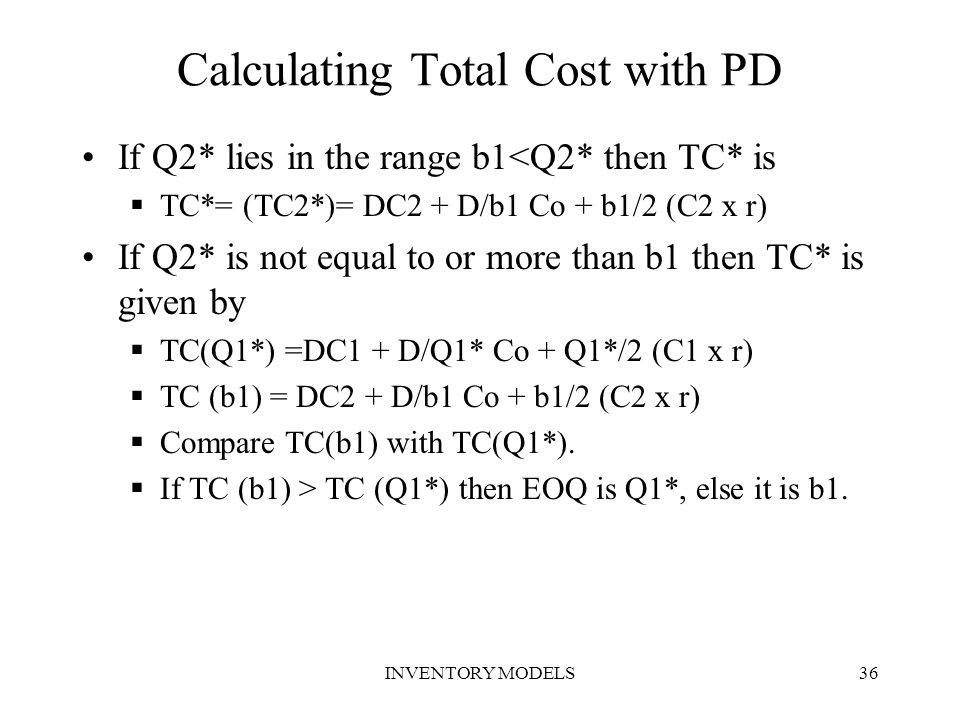 Calculating Total Cost with PD