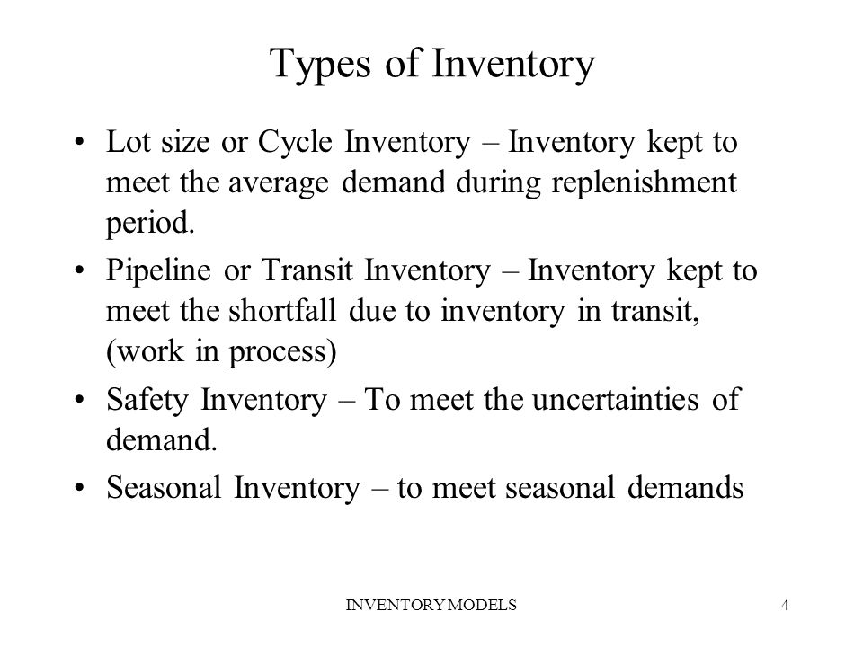 Types of Inventory Lot size or Cycle Inventory – Inventory kept to meet the average demand during replenishment period.