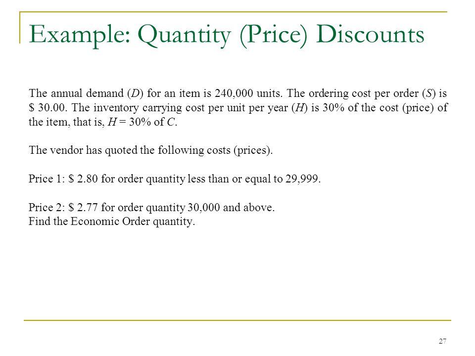 Example: Quantity (Price) Discounts