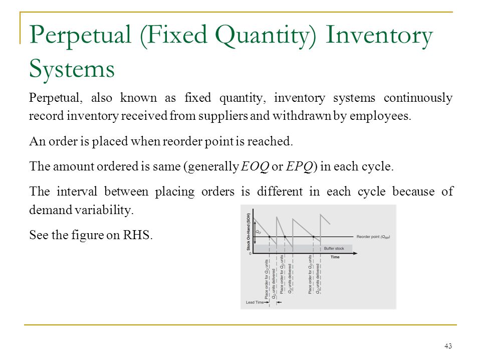 Perpetual (Fixed Quantity) Inventory Systems