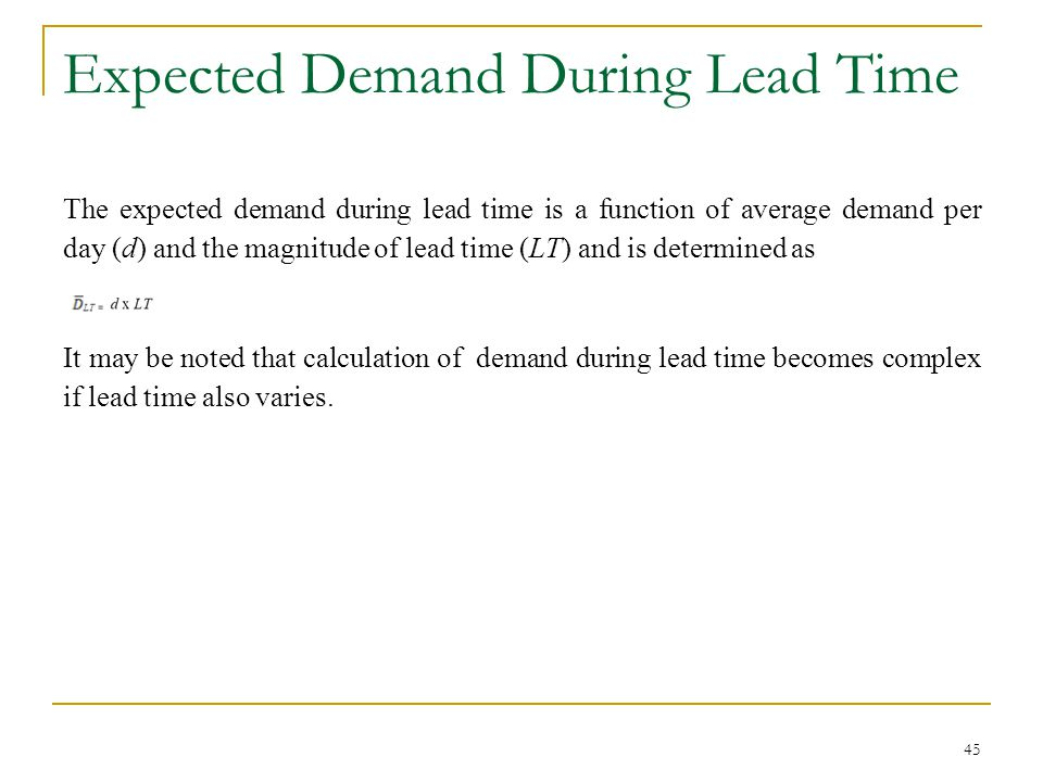 Expected Demand During Lead Time