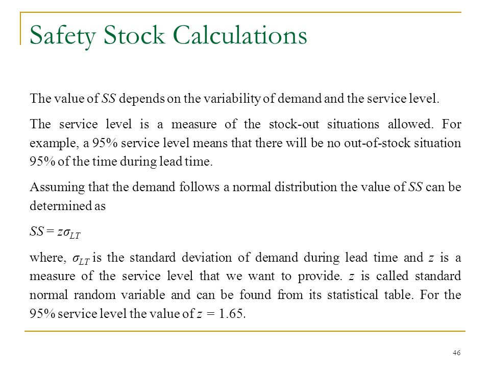 Safety Stock Calculations