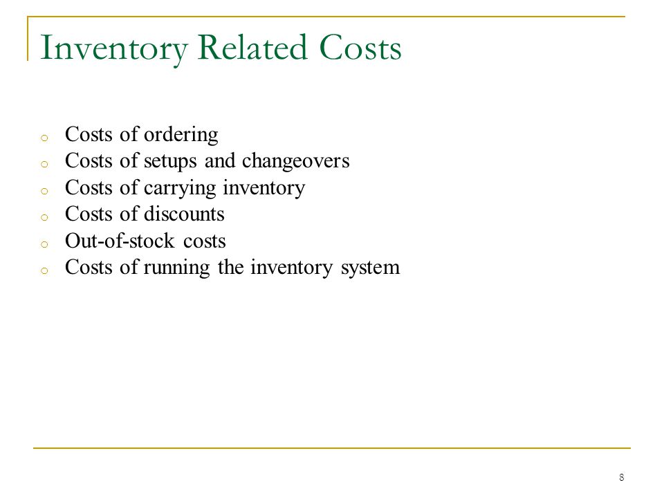 Inventory Related Costs