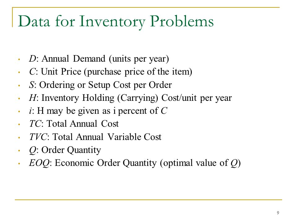 Data for Inventory Problems