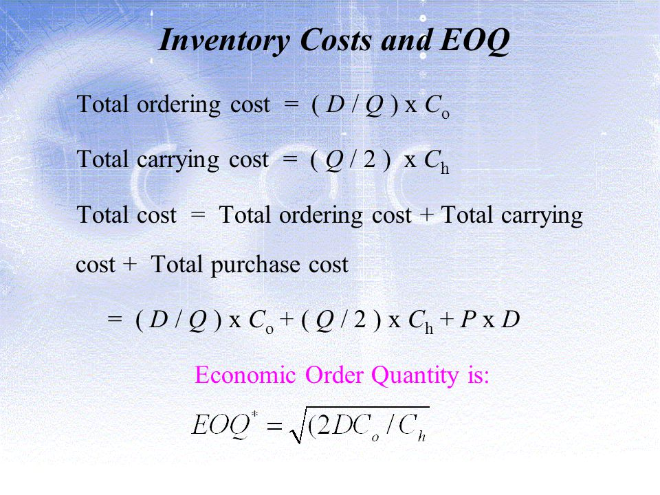 Inventory Costs and EOQ