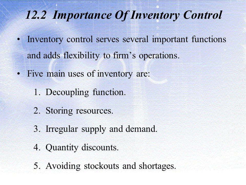 12.2 Importance Of Inventory Control