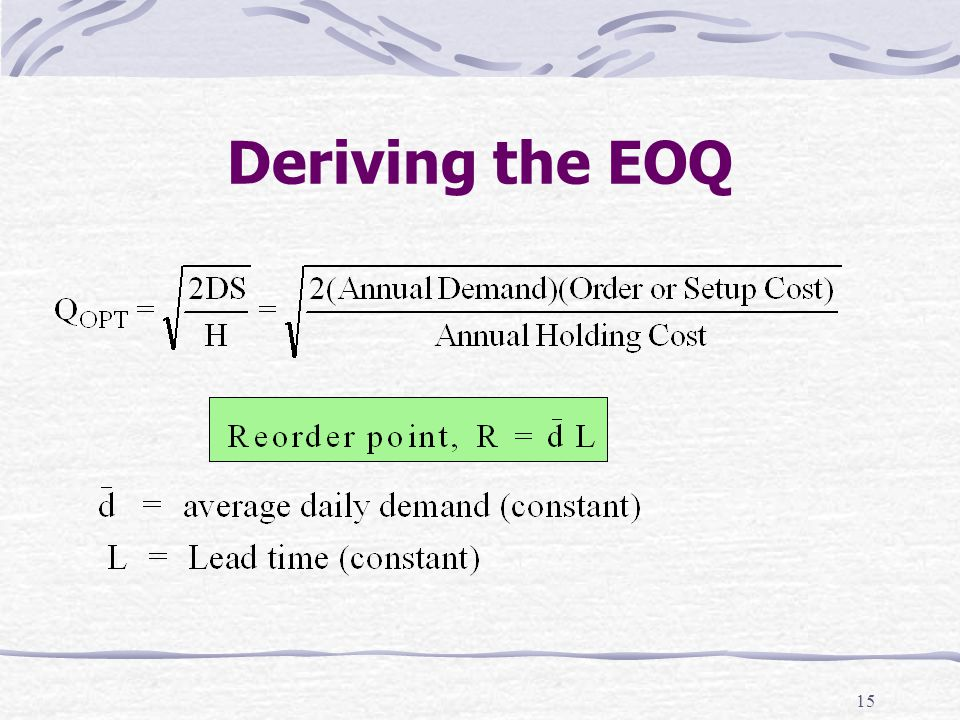Deriving the EOQ 13