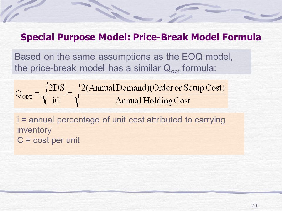 Special Purpose Model: Price-Break Model Formula